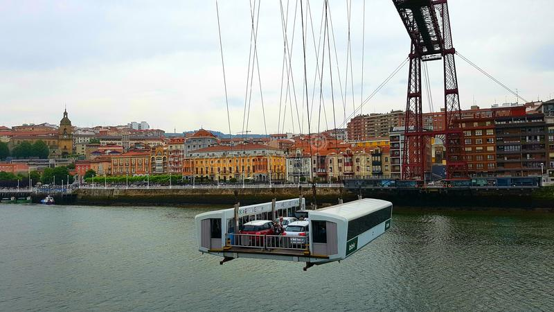 Gondel auf Vizcaya-Brücke, Guecho, Spanien lizenzfreie stockbilder