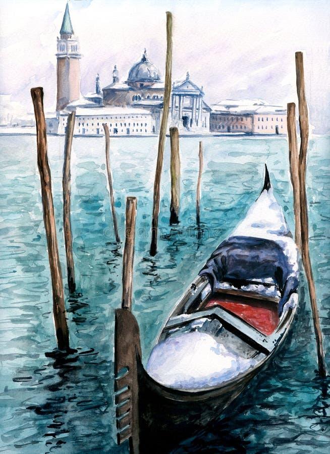 Gondel in de winter stock illustratie