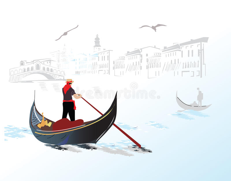 Gondel in Italië stock illustratie