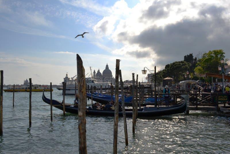 Gondel met toeristen daarin die zich van de bank in de lagune van Venetië verwijderen stock foto