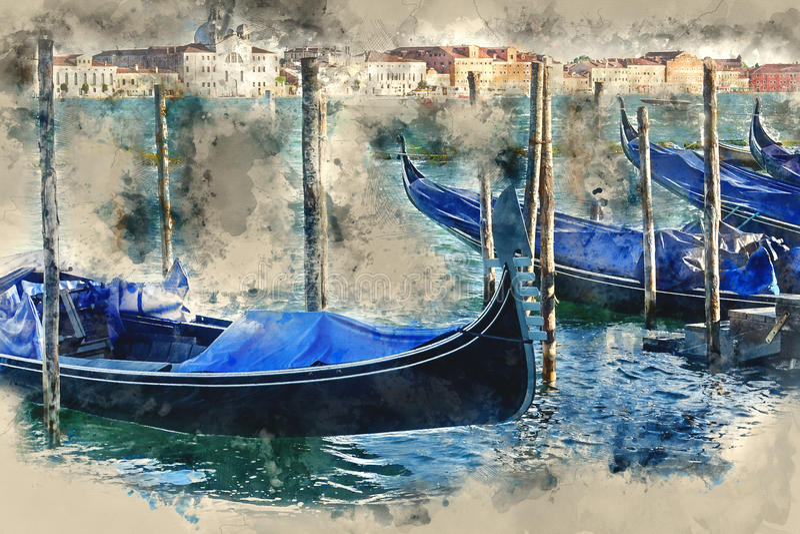 Gondel in Venetië - de Gondeldienst in de kanalen stock illustratie