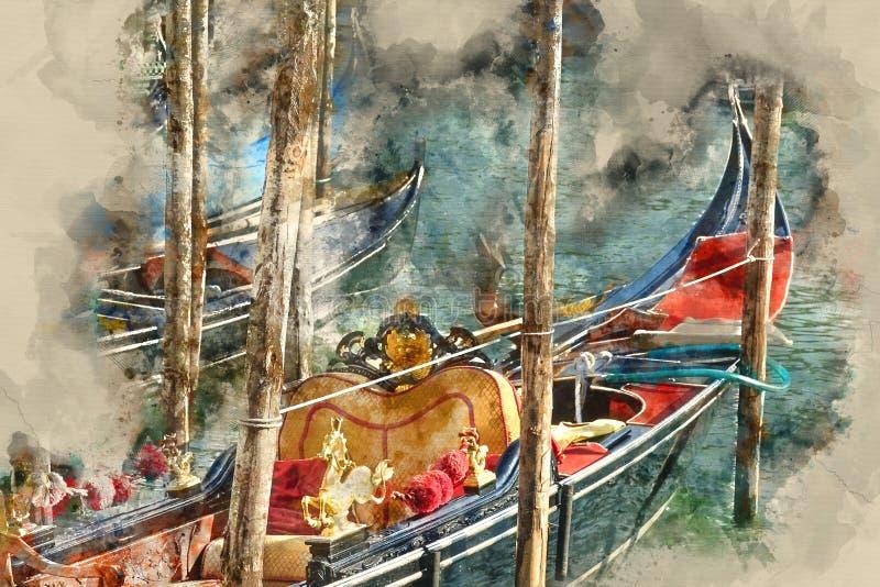 Gondel in Venetië - de Gondeldienst in de kanalen vector illustratie