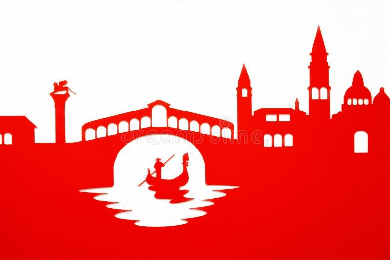 Gondelier die onder de Rialto-Brug, Venetië overgaan vector illustratie