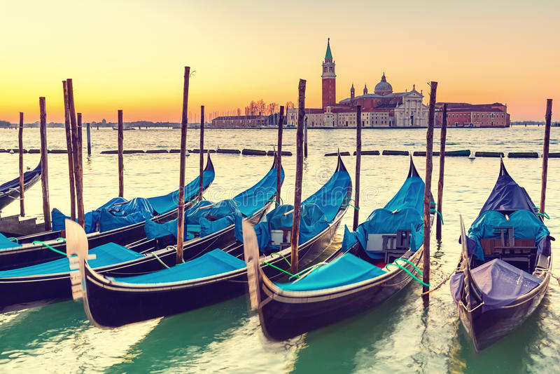 Gondels in Venetië royalty-vrije stock afbeeldingen