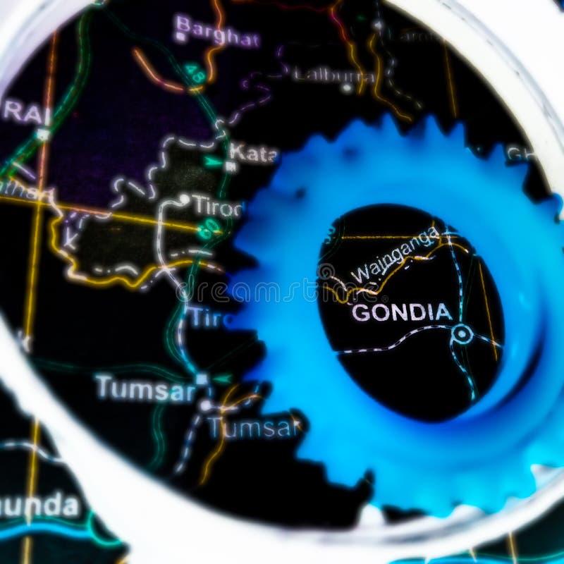 Gondia city name displayed on geographic location map in India. Madhya, pradesh, located, geographical, pindari, glacier, text, written, barnala, jalandhar royalty free stock photography