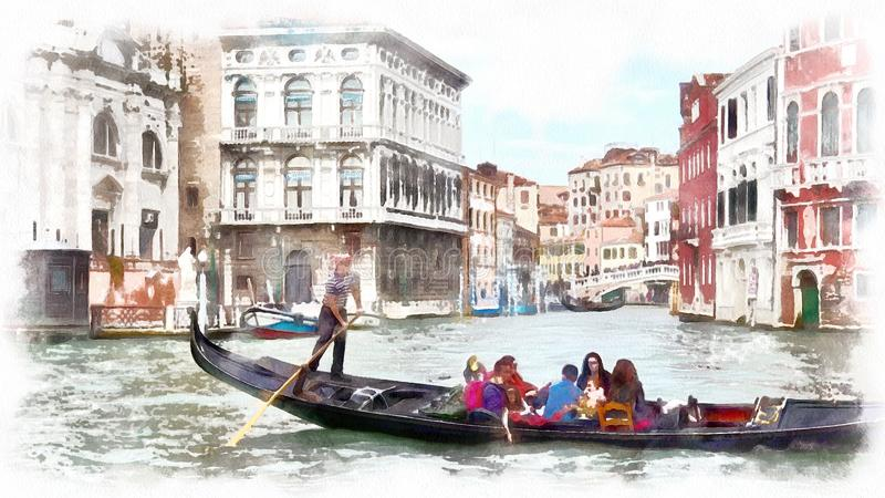 Gondol i en kanal i Venedig, Italien Vattenfärglandskap av Venedig, Italien arkivbild