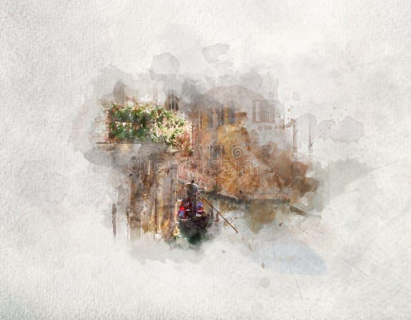 Gondol som svävar på en kanal Vattenfärgkonst stock illustrationer