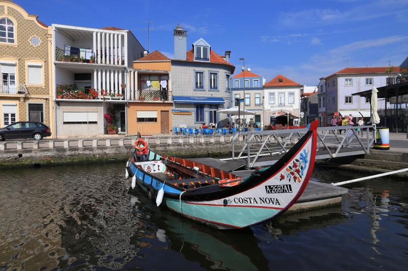 Gondola in Aveiro, Portugal. AVEIRO, PORTUGAL - MAY 23, 2018: Aveiro canal gondola-style boats in Portugal. Aveiro is known as the Venice of Portugal because of royalty free stock images
