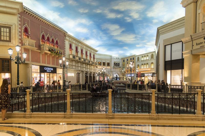 Gondola Basin in the Ventian/Pallazo grand Shopping Mall. The Venetian/Palazzo is a luxury hotel and casino resort located on the Las Vegas Strip in Paradise royalty free stock photography