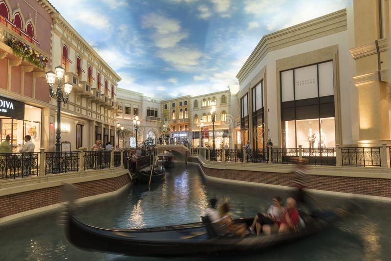 Gondola Basin in the Ventian/Pallazo grand Shopping Mall. The Venetian/Palazzo is a luxury hotel and casino resort located on the Las Vegas Strip in Paradise stock image