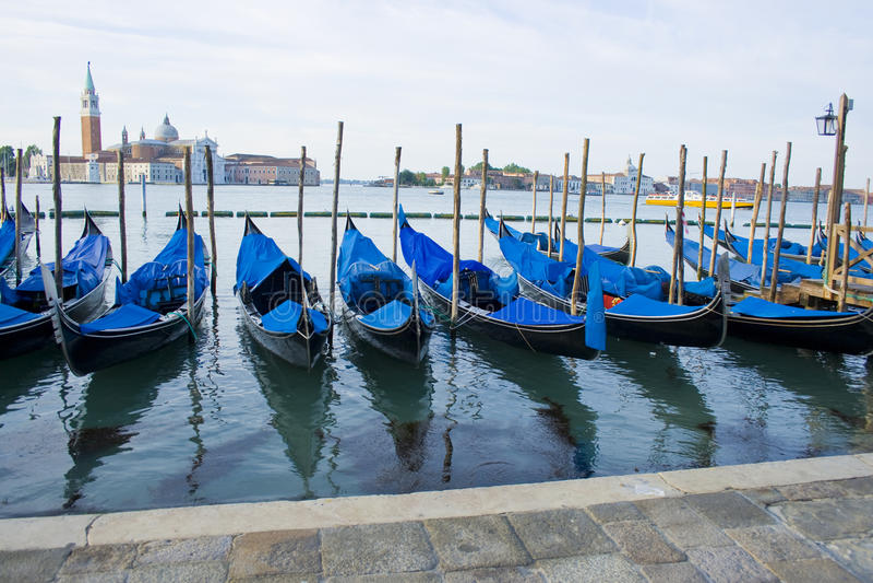 Gondola Boats On Grand Canal Venice Italy Stock Images
