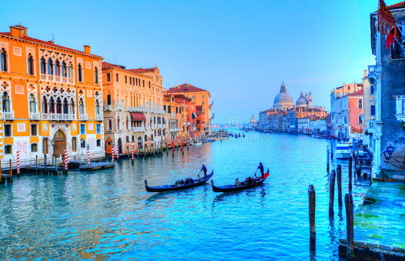 Gondola on canal, Venice - Italy stock image