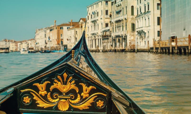 Gondola close up on a trip through narrow channel. royalty free stock photos