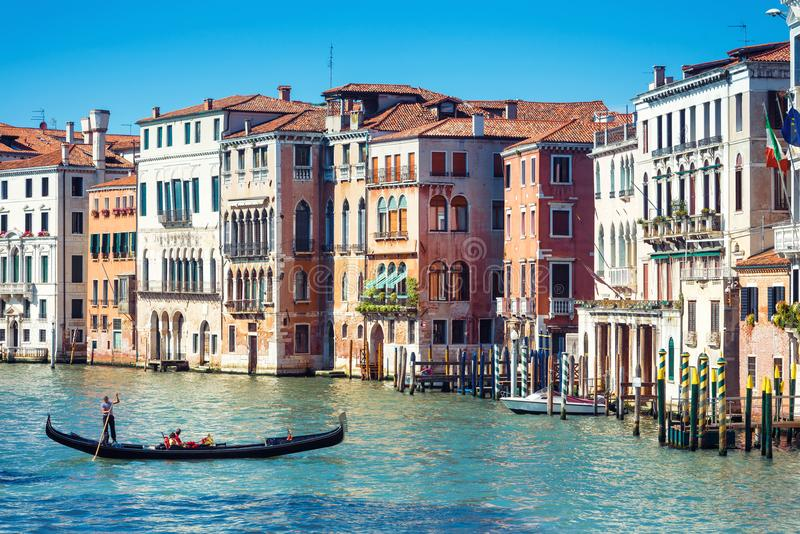 Gondola on the Grand Canal in Venice, Italy royalty free stock images