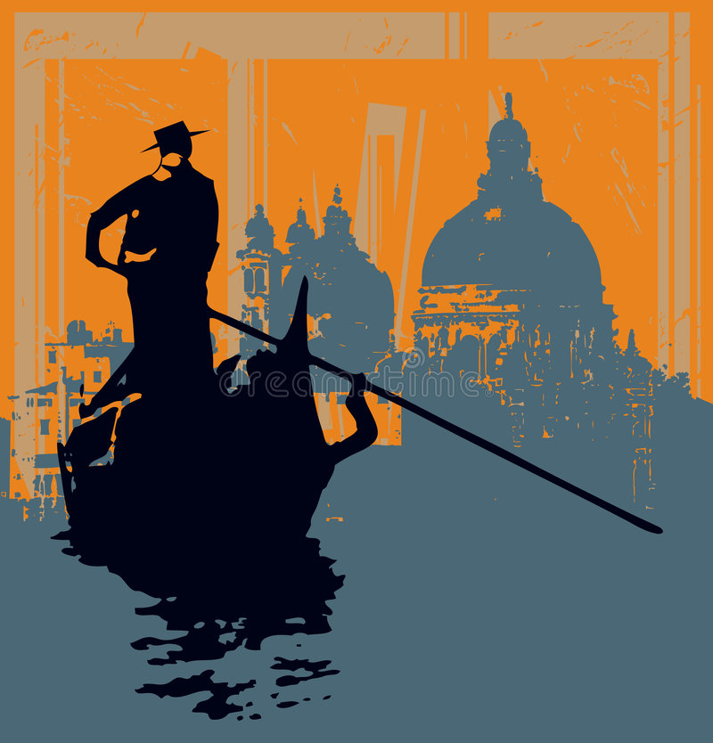 Gondola Grunge Background. Illustration of a Gondala against a grunged image of Salute Basilica in Venice stock illustration