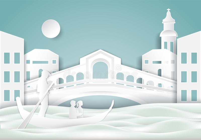 Gondola i kantora most, Venice w Włochy tle papierowy cu ilustracja wektor