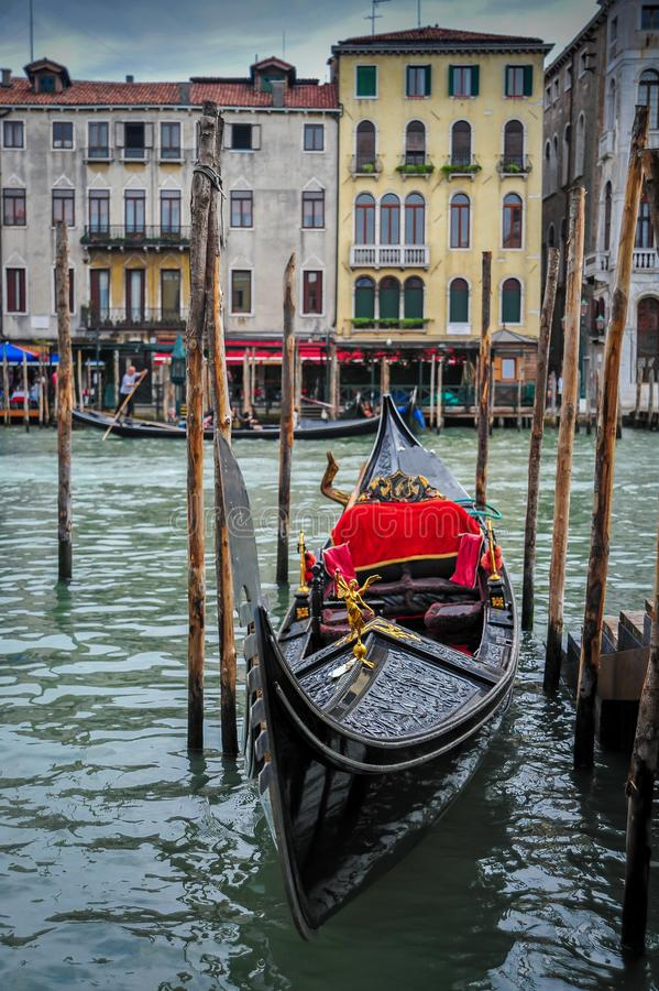 Gondola Moored on the Grand Canal royalty free stock images