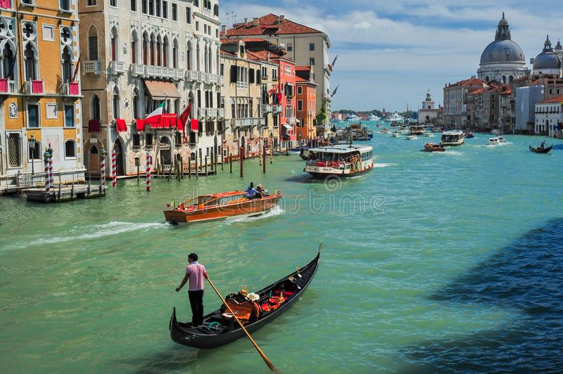 Gondola and Boats on the Grand Canal royalty free stock image