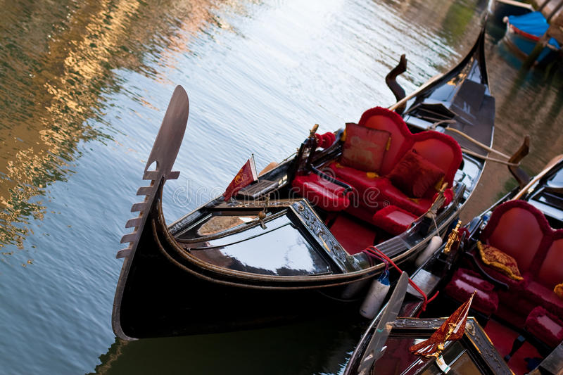 Gondola with red seats royalty free stock photos