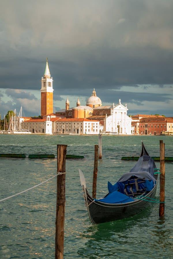 Gondola and San Giorgio Maggiore Church in Venice royalty free stock image