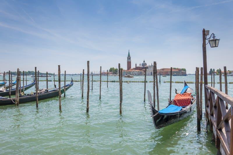 Gondola and San Giorgio Maggiore in Venice, Italy stock image