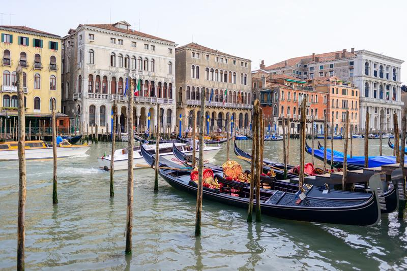 Gondola service tourist people travel around Venice canal grand in Italy stock photos