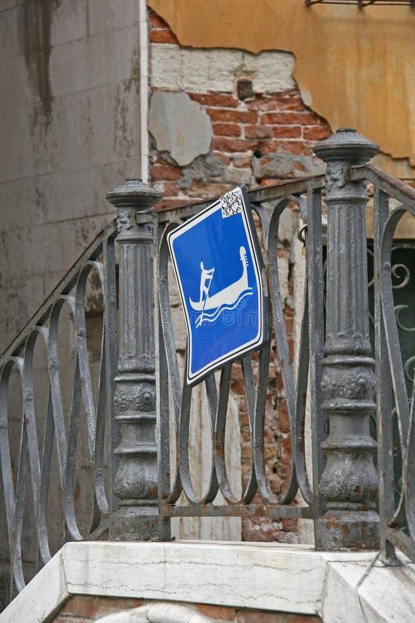 Gondola sign on the bridge royalty free stock photography