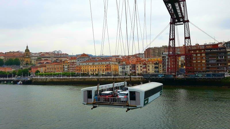 Gondola sul ponte di Vizcaya, Guecho, Spagna immagini stock libere da diritti