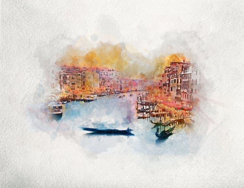 Gondola unosi się na kanał grande w Wenecja, Włochy akwarela ilustracji