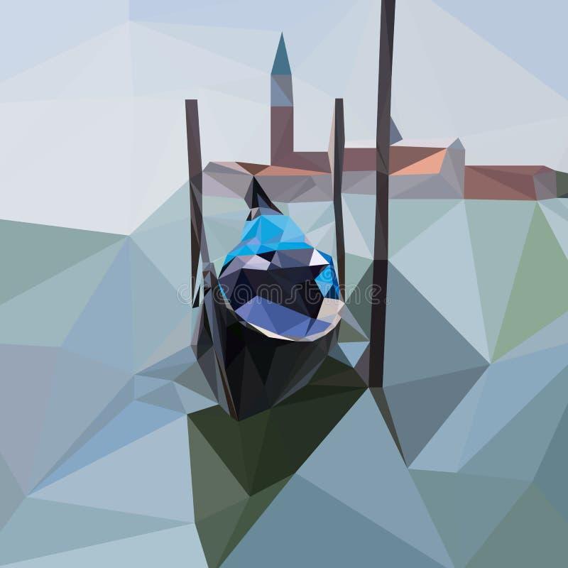 Gondola unosi się na wodzie w Wenecja, Włochy royalty ilustracja