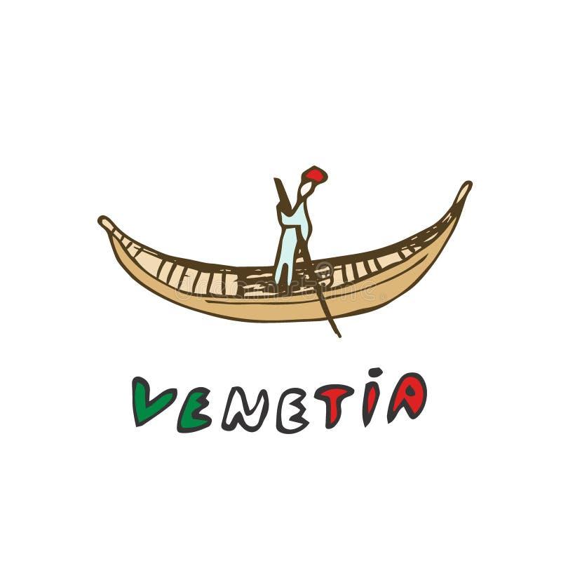 Gondola unosi się na wodzie Wenecja, Venetia włoch - Wektorowa nakreślenie ilustracja ilustracji