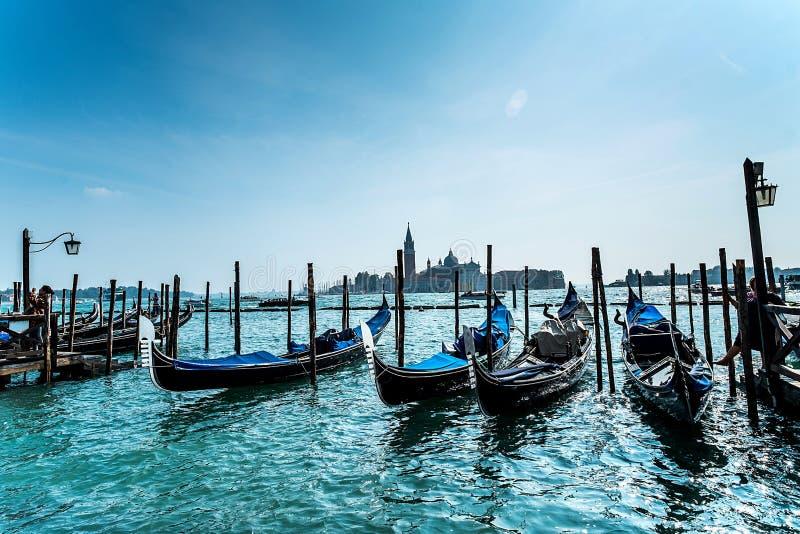 Gondola in Venice. San Giorgio Maggiore , Italy stock images