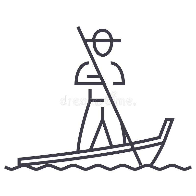 Gondola, Venice wektoru linii ikona, znak, ilustracja na tle, editable uderzenia ilustracji