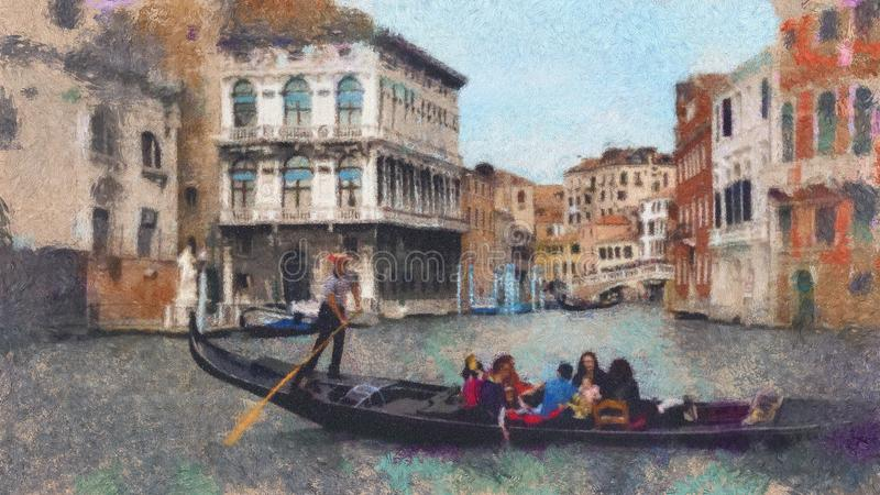 Gondola w kanale w Wenecja, Włochy Obrazu olejnego przestylizowania krajobraz Wenecja, Włochy royalty ilustracja