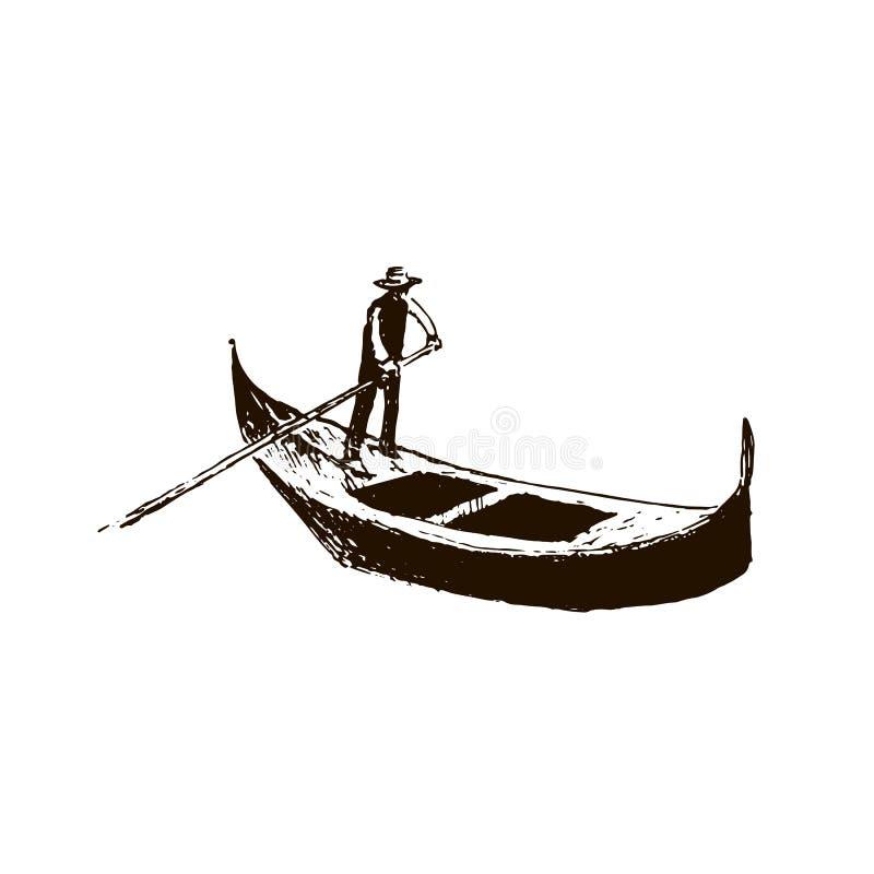 gondola Wenecja symbol Wektorowy nakreślenie royalty ilustracja