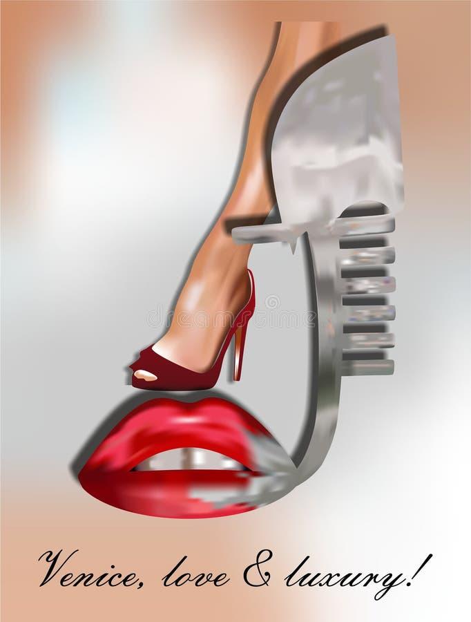 Gondola Wenecja, wargi i seksowna noga, ilustracji