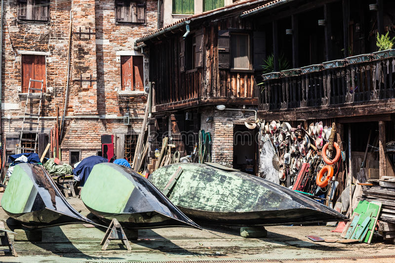 Gondola wharf in Venice. Italy stock photo