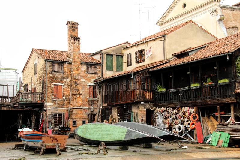 Gondola Workshop. Near Squero di San Trovaso, Venice, Italy royalty free stock images