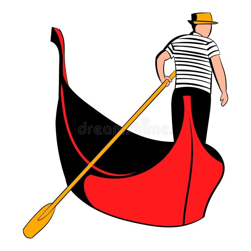 Gondola z gondolier ikony kreskówką ilustracja wektor