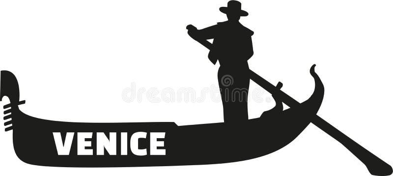Gondola z gondolierem - Wenecja ilustracja wektor