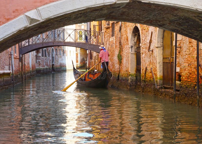 Gondolas and canals in Venice, Italy royalty free stock images