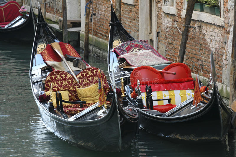 Gondolas in the canals of Venice. Veneto, Italy royalty free stock photo