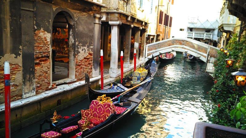 Gondolas. On the water street of Venice stock photography