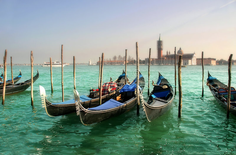 Gondolas on Grand Canal and San Giorgio Maggiore. stock images