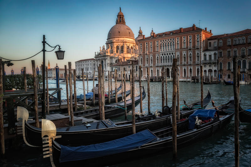 Gondolas on the Grand Canal in Venice in front of the Basilica di Santa Maria della Salute royalty free stock photo
