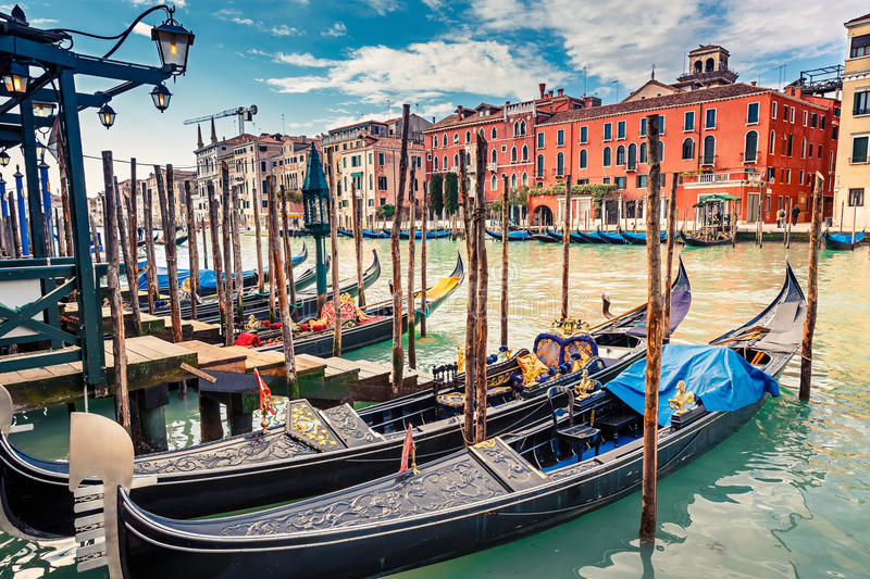 Gondolas on Grand canal in Venice royalty free stock image