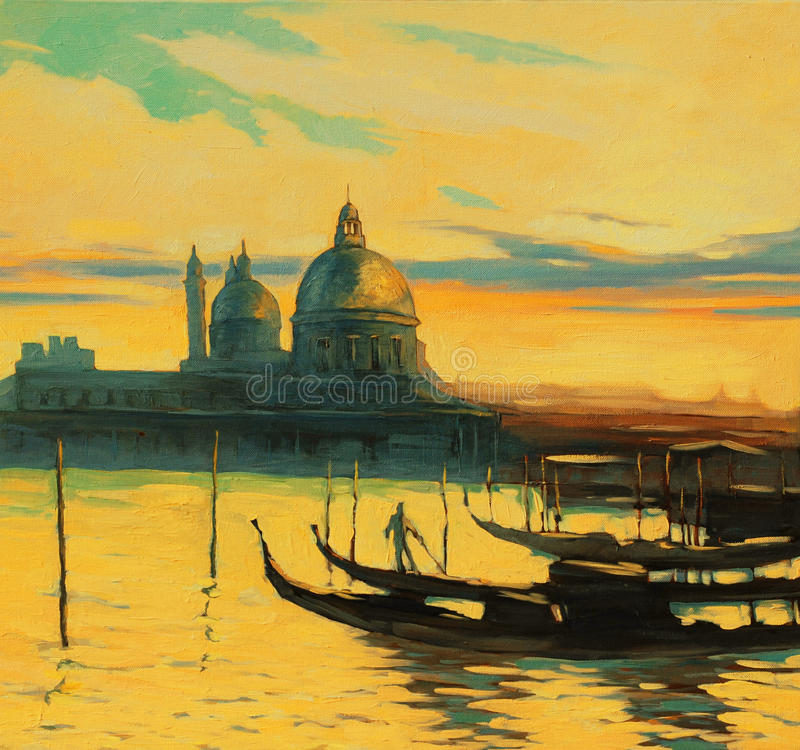Gondolas on landing stage in venice, painting by oil paints , il stock images