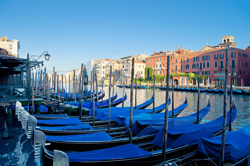Gondolas moored royalty free stock photo