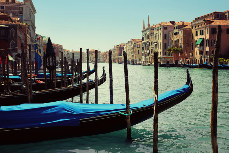 Gondolas moored by Saint Mark square. Venice royalty free stock images