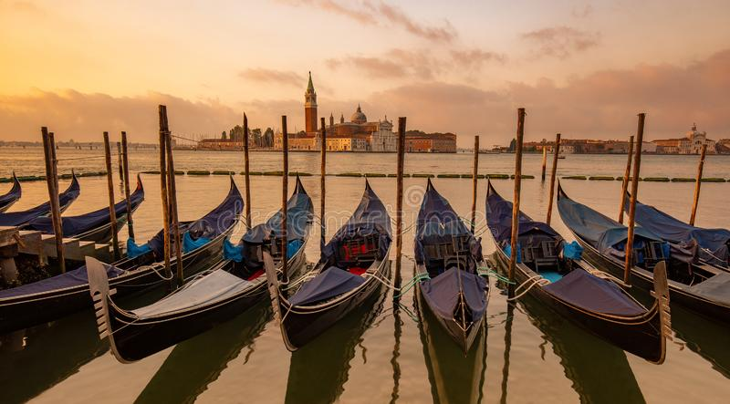 Gondolas moored in St Mark`s Square, Venice, Italy 图库摄影